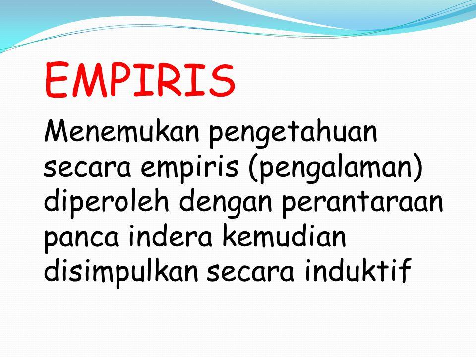 EMPIRIS Menemukan pengetahuan secara empiris (pengalaman) diperoleh dengan perantaraan panca indera kemudian disimpulkan secara induktif.
