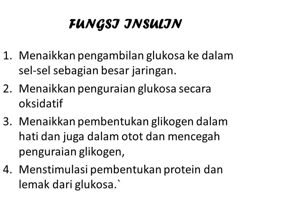 FUNGSI INSULIN Menaikkan pengambilan glukosa ke dalam sel-sel sebagian besar jaringan. Menaikkan penguraian glukosa secara oksidatif.