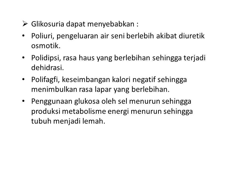Glikosuria dapat menyebabkan :