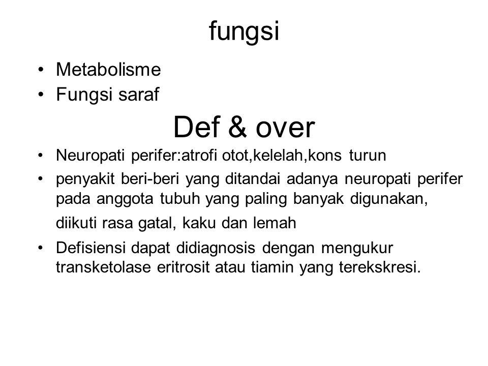 Def & over fungsi Metabolisme Fungsi saraf