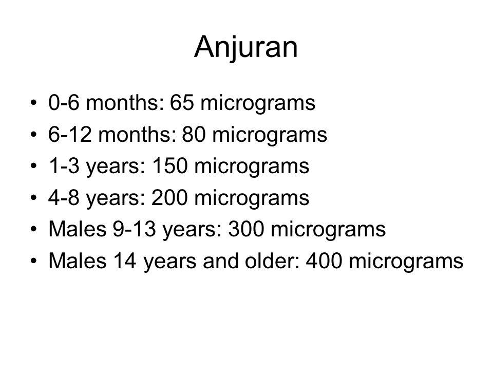 Anjuran 0-6 months: 65 micrograms 6-12 months: 80 micrograms