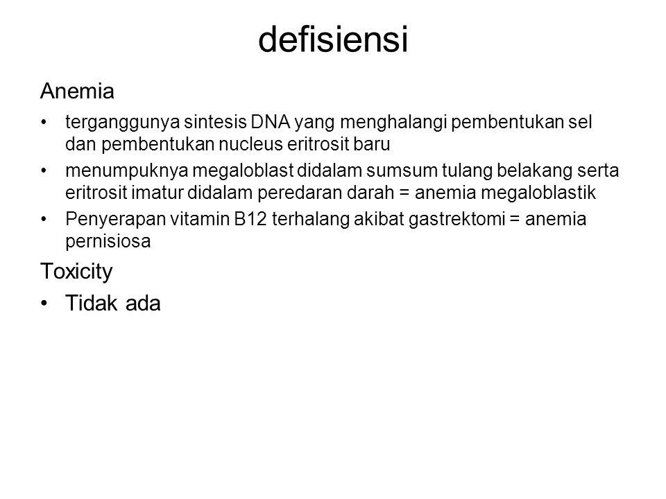 defisiensi Anemia Toxicity Tidak ada