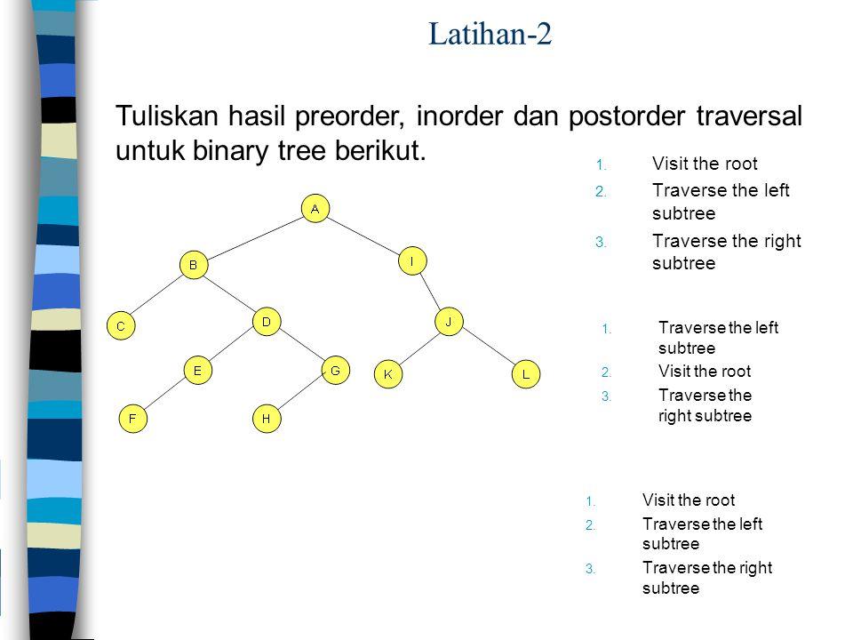 Latihan-2 Tuliskan hasil preorder, inorder dan postorder traversal