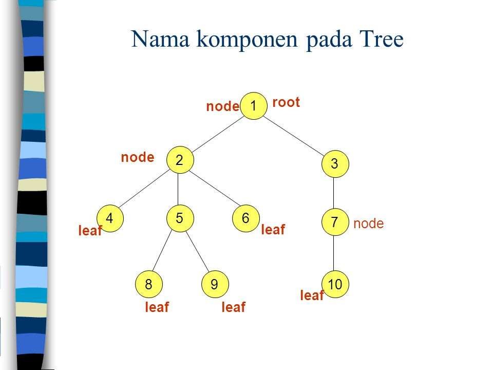 Nama komponen pada Tree
