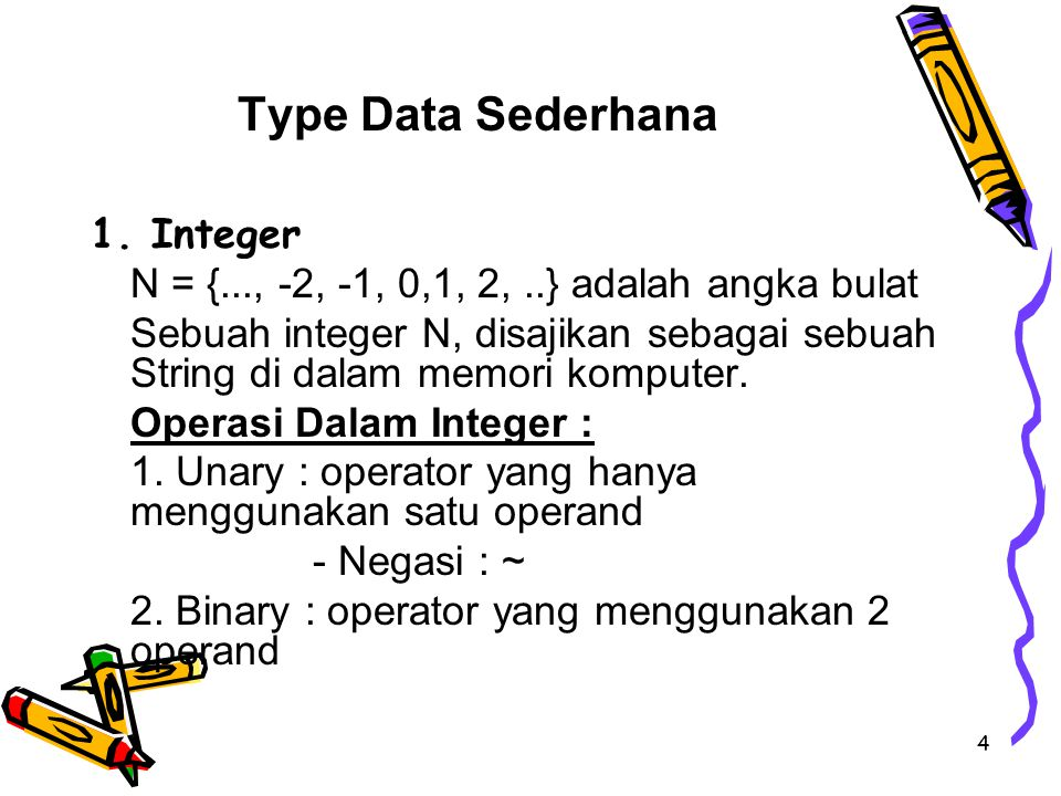 Type Data Sederhana 1. Integer