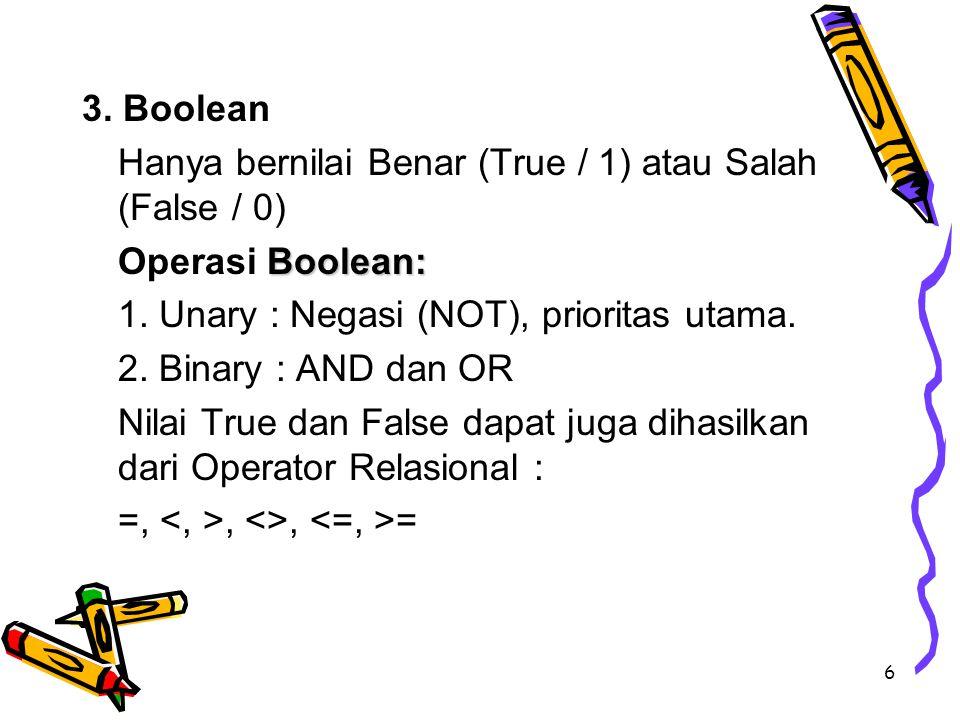 3. Boolean Hanya bernilai Benar (True / 1) atau Salah (False / 0) Operasi Boolean: 1. Unary : Negasi (NOT), prioritas utama.