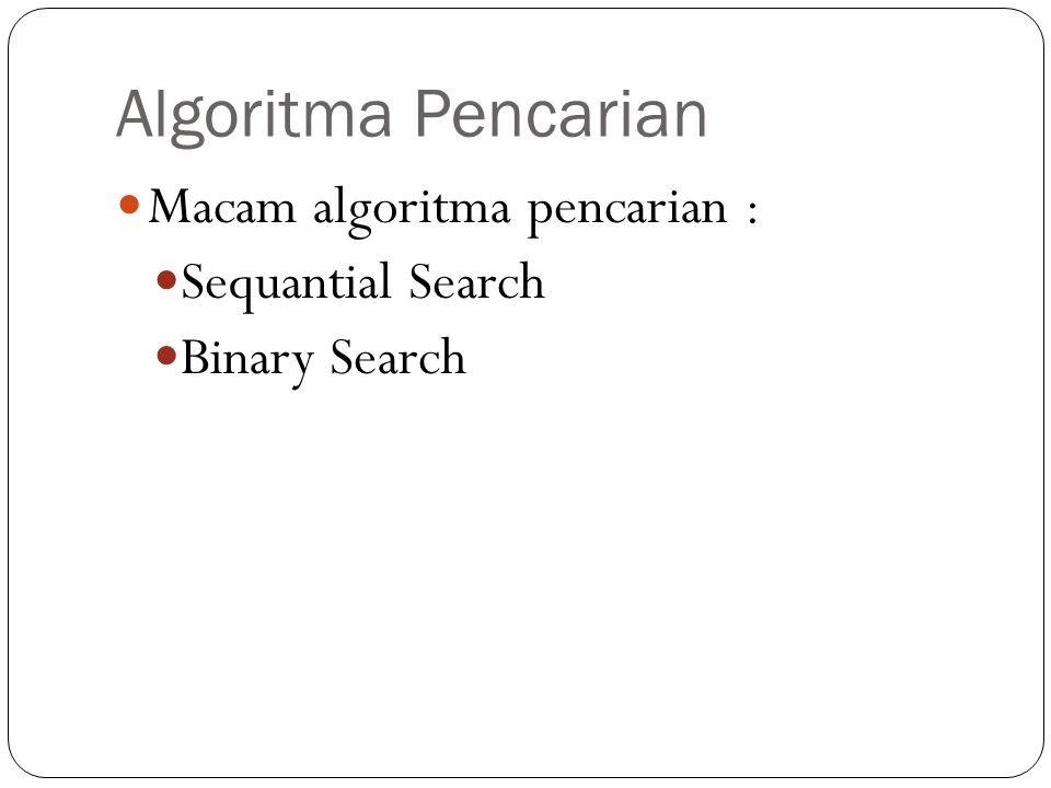 Algoritma Pencarian Macam algoritma pencarian : Sequantial Search
