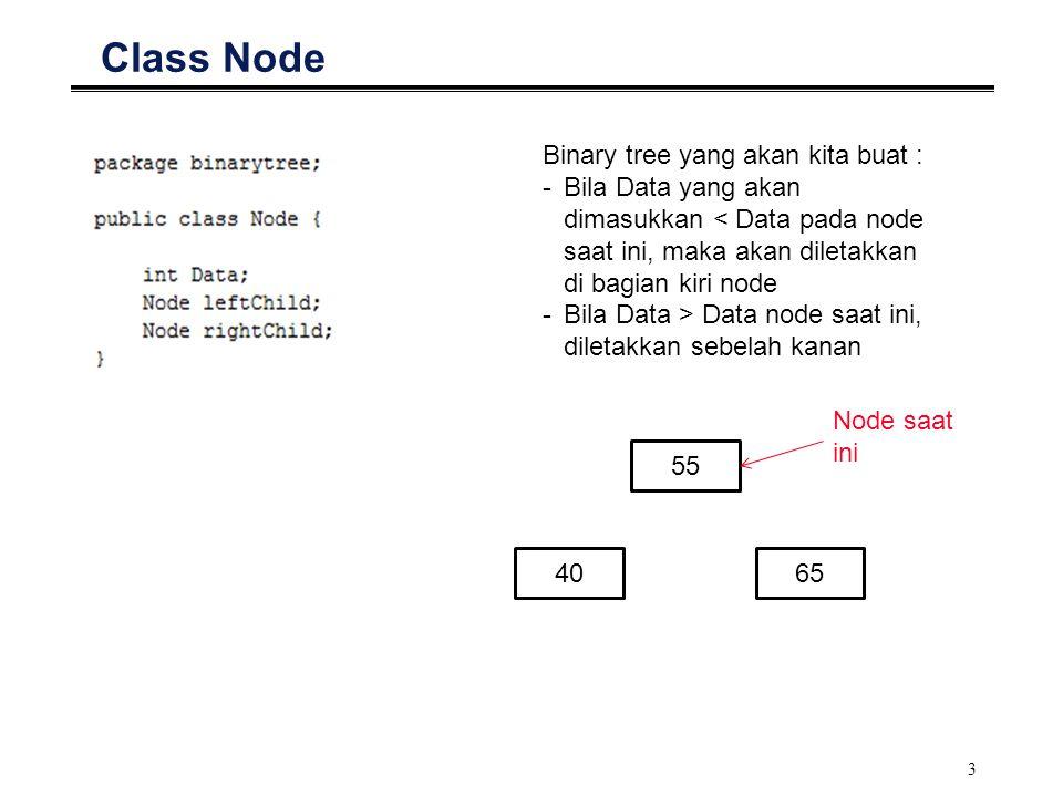 Class Node Binary tree yang akan kita buat :