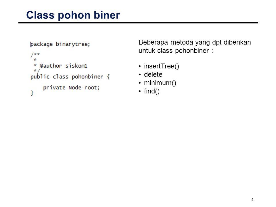 Class pohon biner Beberapa metoda yang dpt diberikan untuk class pohonbiner : insertTree() delete.