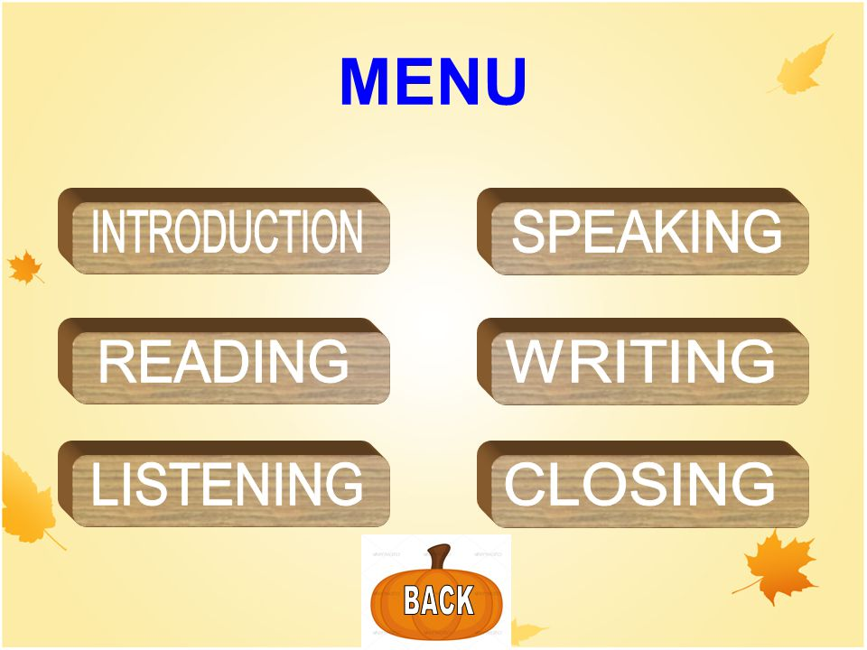MENU INTRODUCTION SPEAKING READING WRITING LISTENING CLOSING BACK