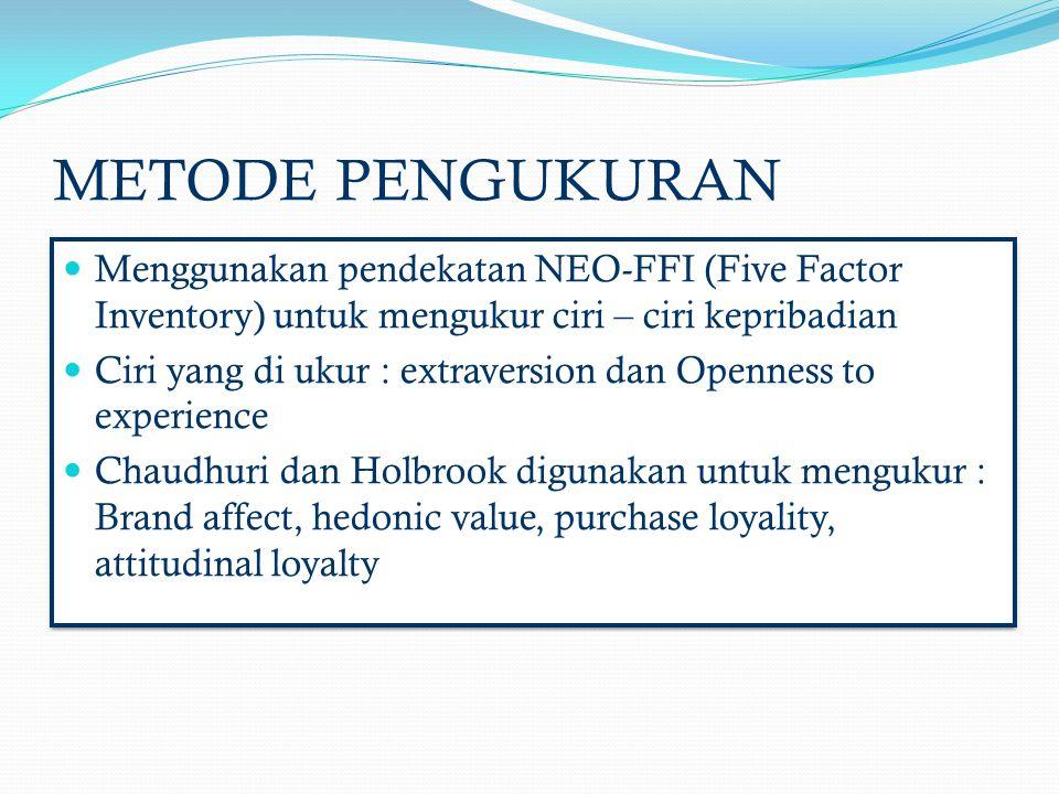 METODE PENGUKURAN Menggunakan pendekatan NEO-FFI (Five Factor Inventory) untuk mengukur ciri – ciri kepribadian.