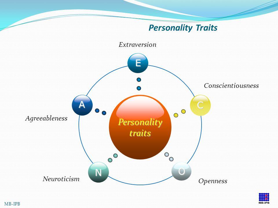 Personality Traits E A C Personality traits O N Extraversion