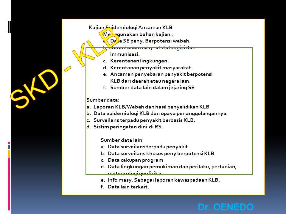 SKD - KLB Dr. OENEDO GUMARANG, MPHM. Kajian Epidemiologi Ancaman KLB