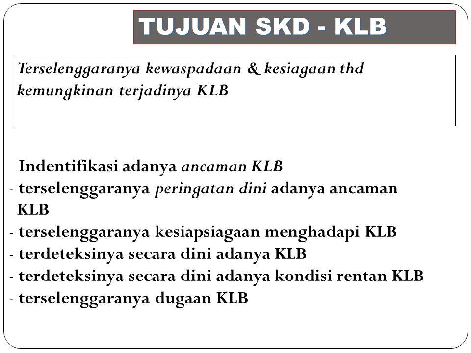 TUJUAN SKD - KLB Terselenggaranya kewaspadaan & kesiagaan thd kemungkinan terjadinya KLB. Indentifikasi adanya ancaman KLB.