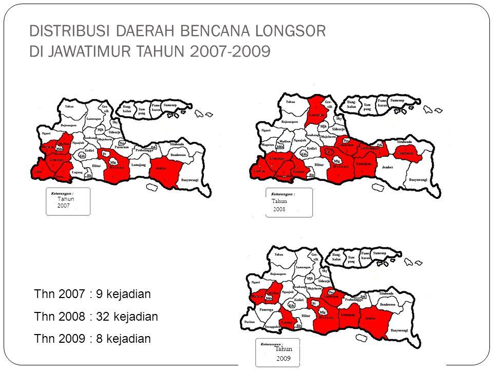 DISTRIBUSI DAERAH BENCANA LONGSOR DI JAWATIMUR TAHUN 2007-2009