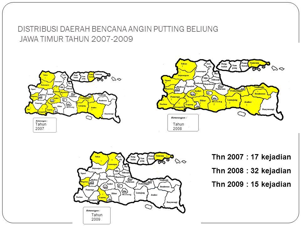 DISTRIBUSI DAERAH BENCANA ANGIN PUTTING BELIUNG JAWA TIMUR TAHUN 2007-2009