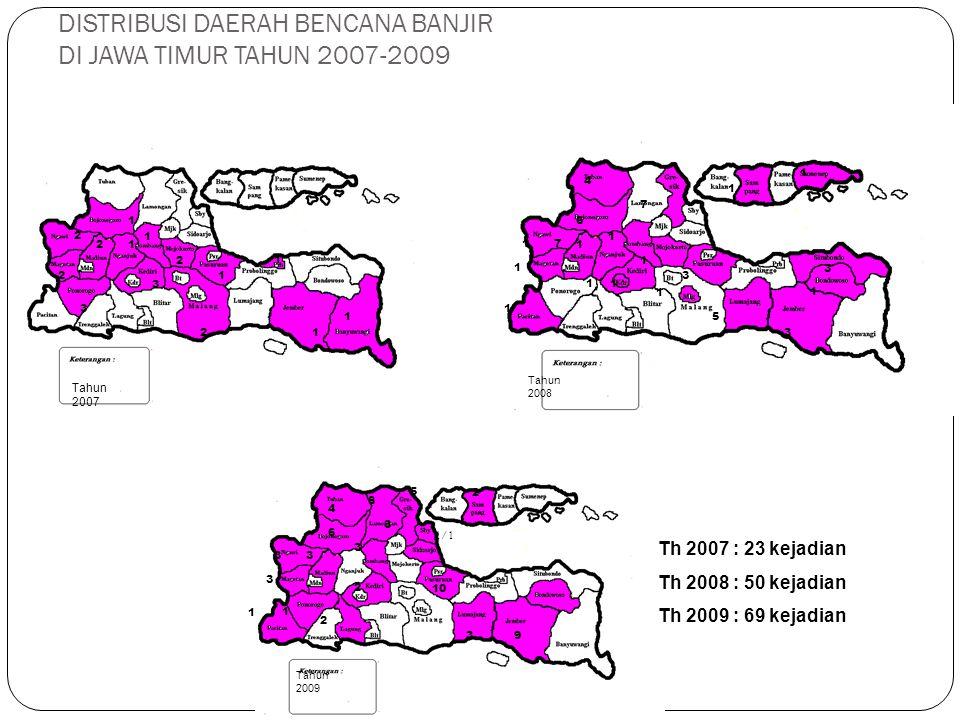 DISTRIBUSI DAERAH BENCANA BANJIR DI JAWA TIMUR TAHUN 2007-2009