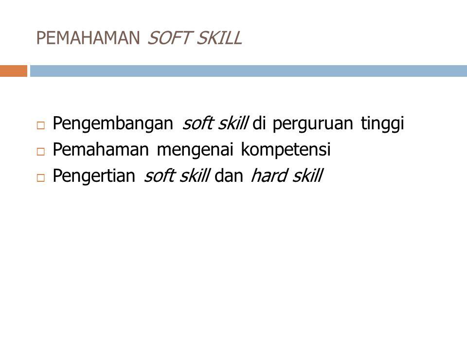 PEMAHAMAN SOFT SKILL Pengembangan soft skill di perguruan tinggi.