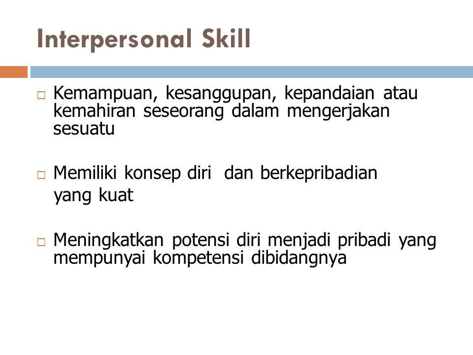 Interpersonal Skill Kemampuan, kesanggupan, kepandaian atau kemahiran seseorang dalam mengerjakan sesuatu.