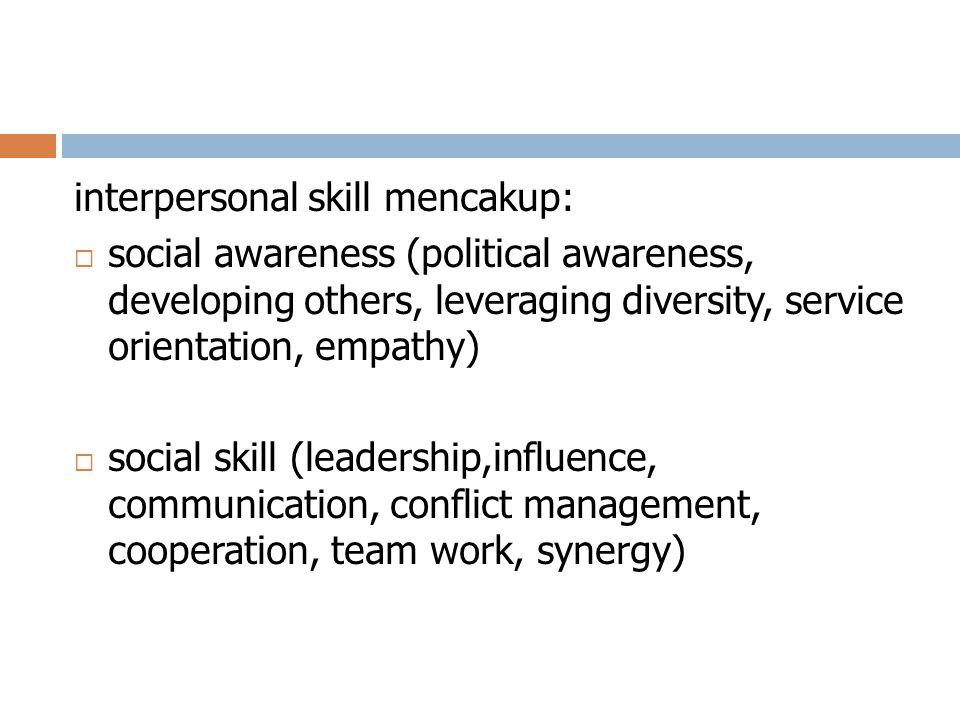 interpersonal skill mencakup:
