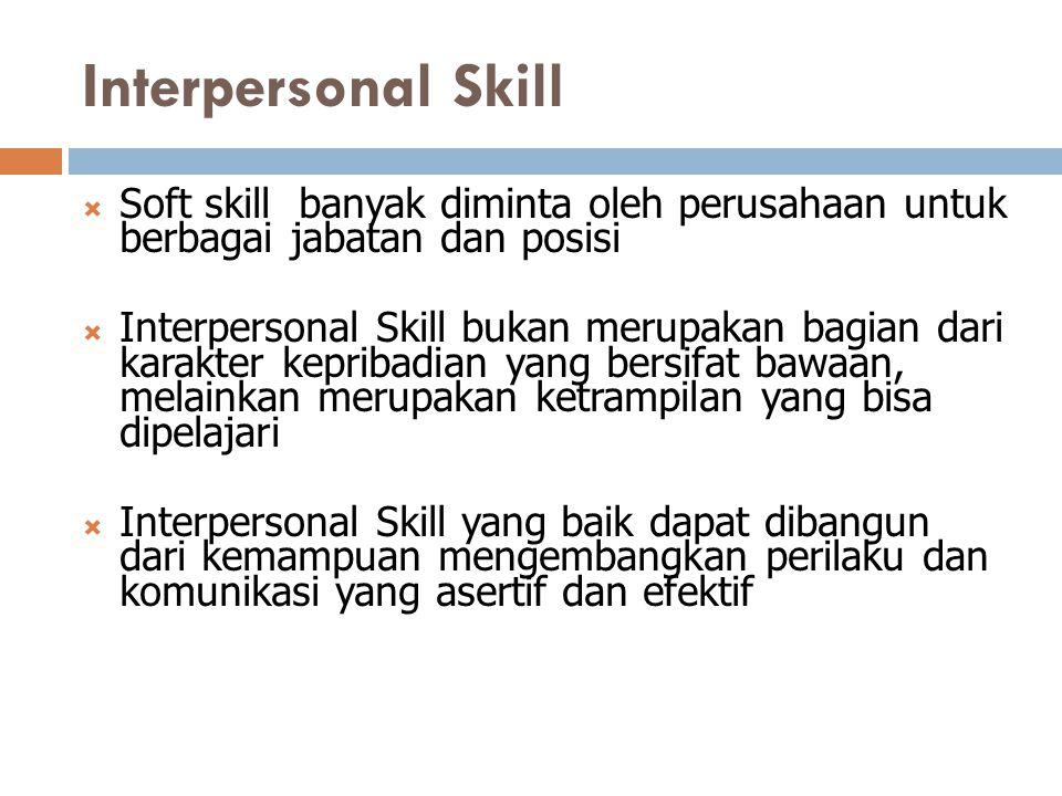 Interpersonal Skill Soft skill banyak diminta oleh perusahaan untuk berbagai jabatan dan posisi.