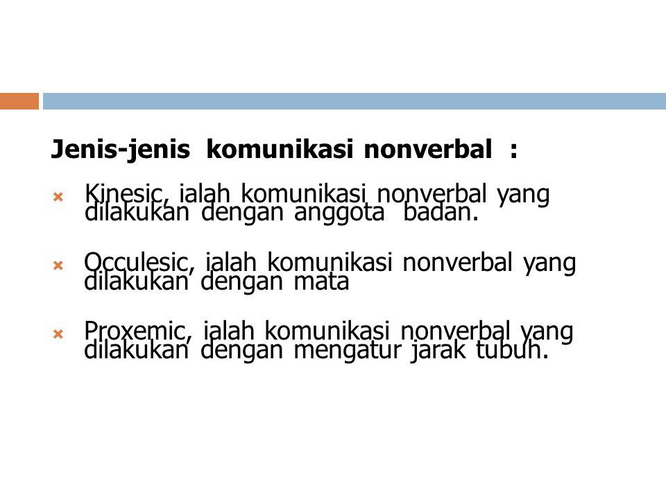 Jenis-jenis komunikasi nonverbal :