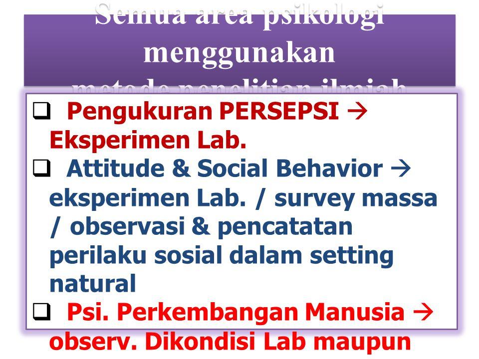 Semua area psikologi menggunakan metode penelitian ilmiah