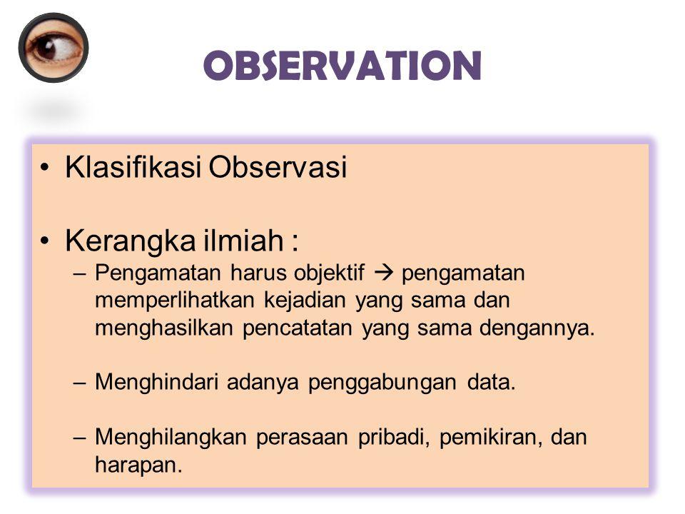 OBSERVATION Klasifikasi Observasi Kerangka ilmiah :
