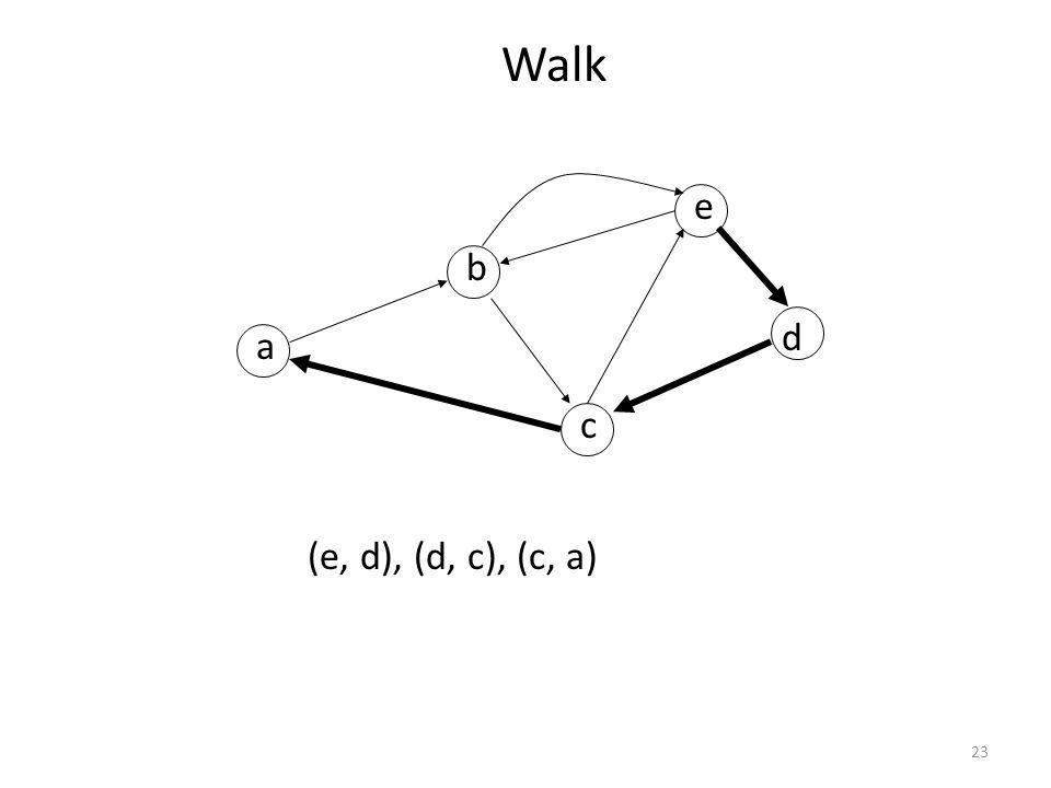 Walk a b c d e (e, d), (d, c), (c, a)