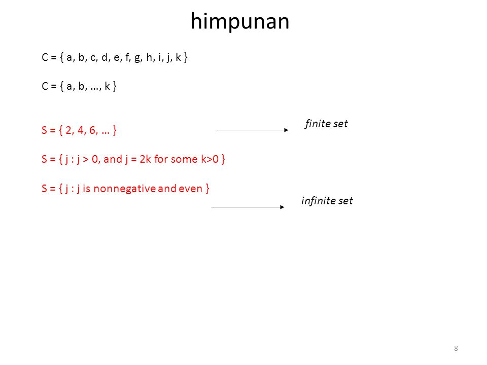 himpunan C = { a, b, c, d, e, f, g, h, i, j, k } C = { a, b, …, k }