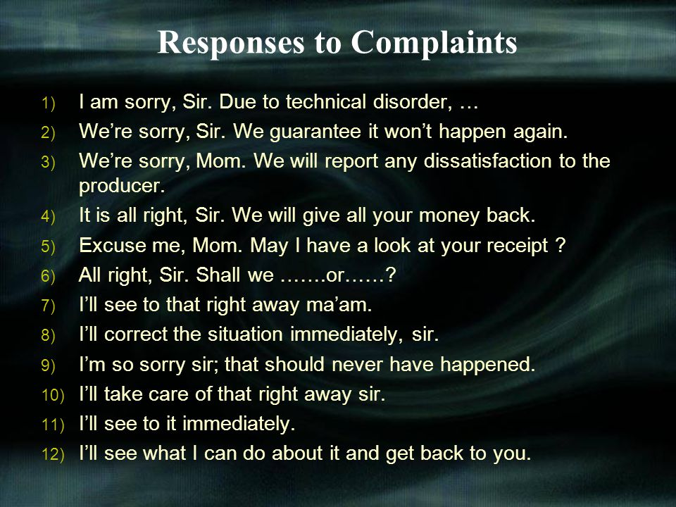 Responses to Complaints