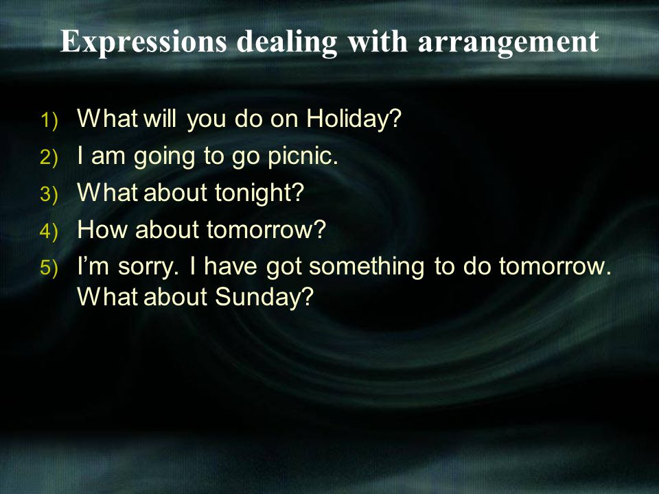 Expressions dealing with arrangement