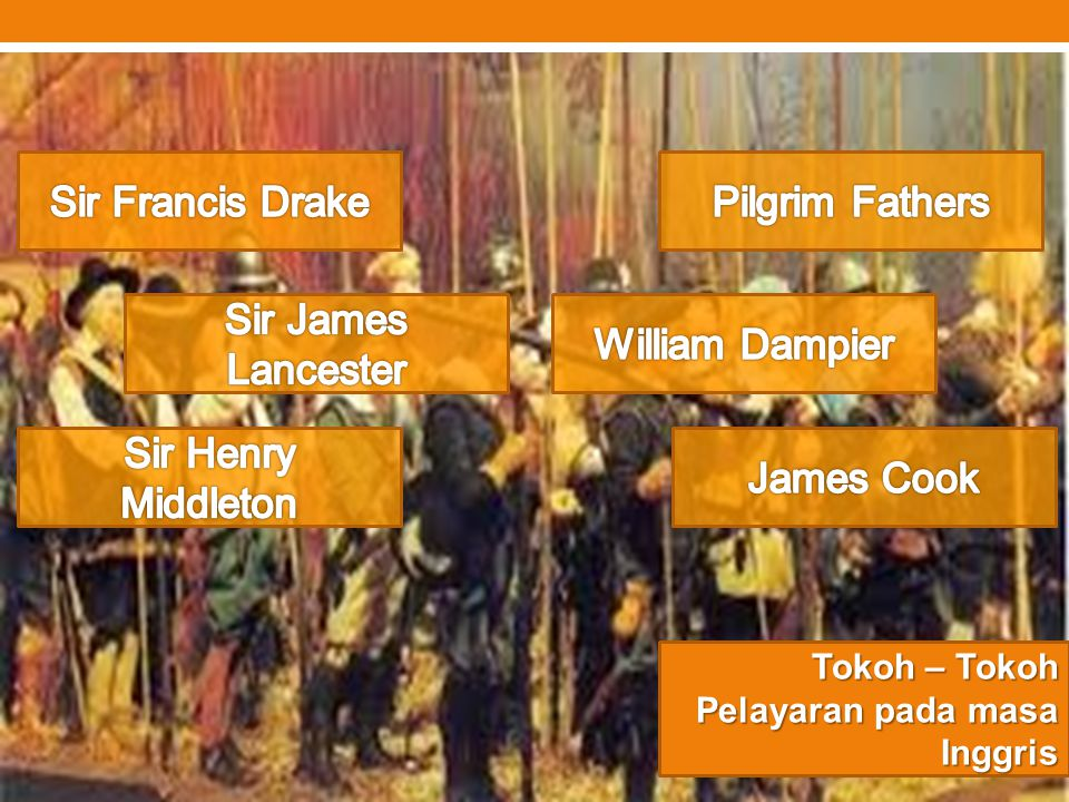 Sir Francis Drake Pilgrim Fathers Sir James Lancester William Dampier