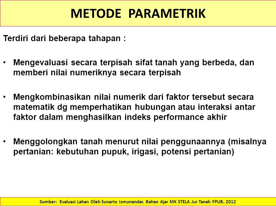 METODE PARAMETRIK Terdiri dari beberapa tahapan :