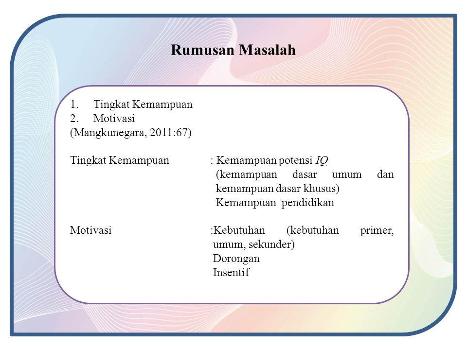 Rumusan Masalah Tingkat Kemampuan Motivasi (Mangkunegara, 2011:67)