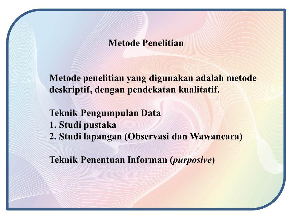 Metode Penelitian Metode penelitian yang digunakan adalah metode deskriptif, dengan pendekatan kualitatif.