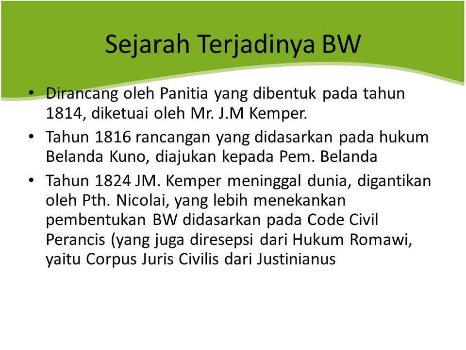 Sejarah Terjadinya BW Dirancang oleh Panitia yang dibentuk pada tahun 1814, diketuai oleh Mr. J.M Kemper.