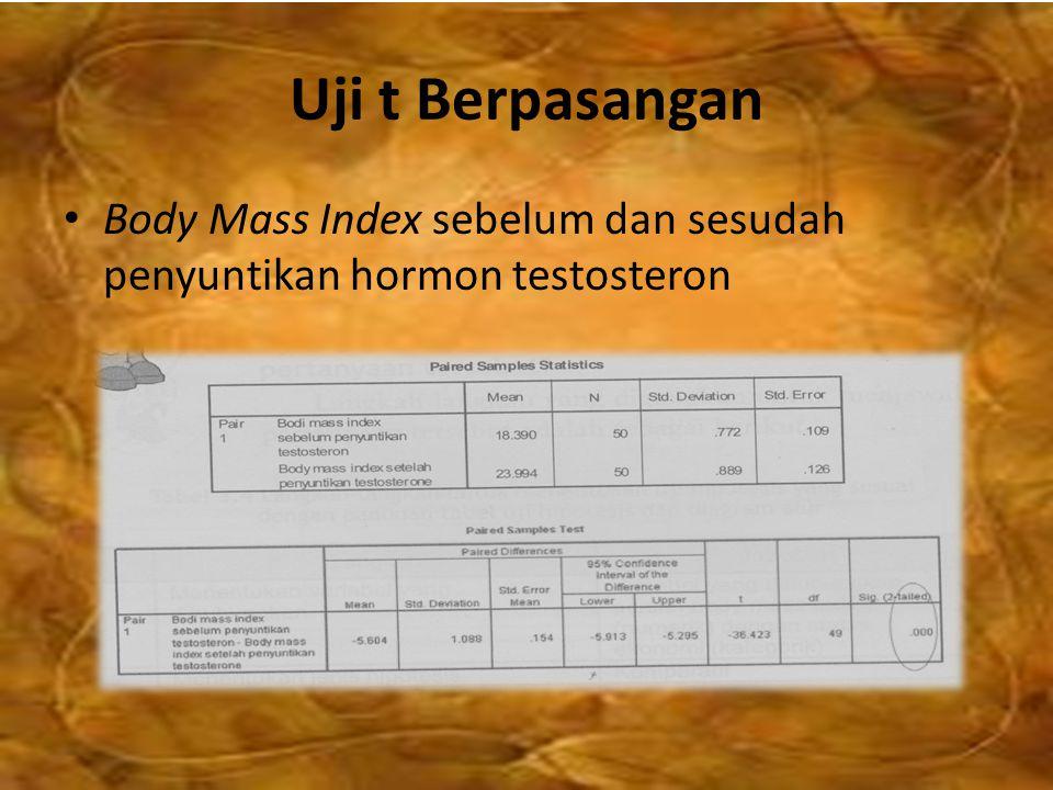 Uji t Berpasangan Body Mass Index sebelum dan sesudah penyuntikan hormon testosteron