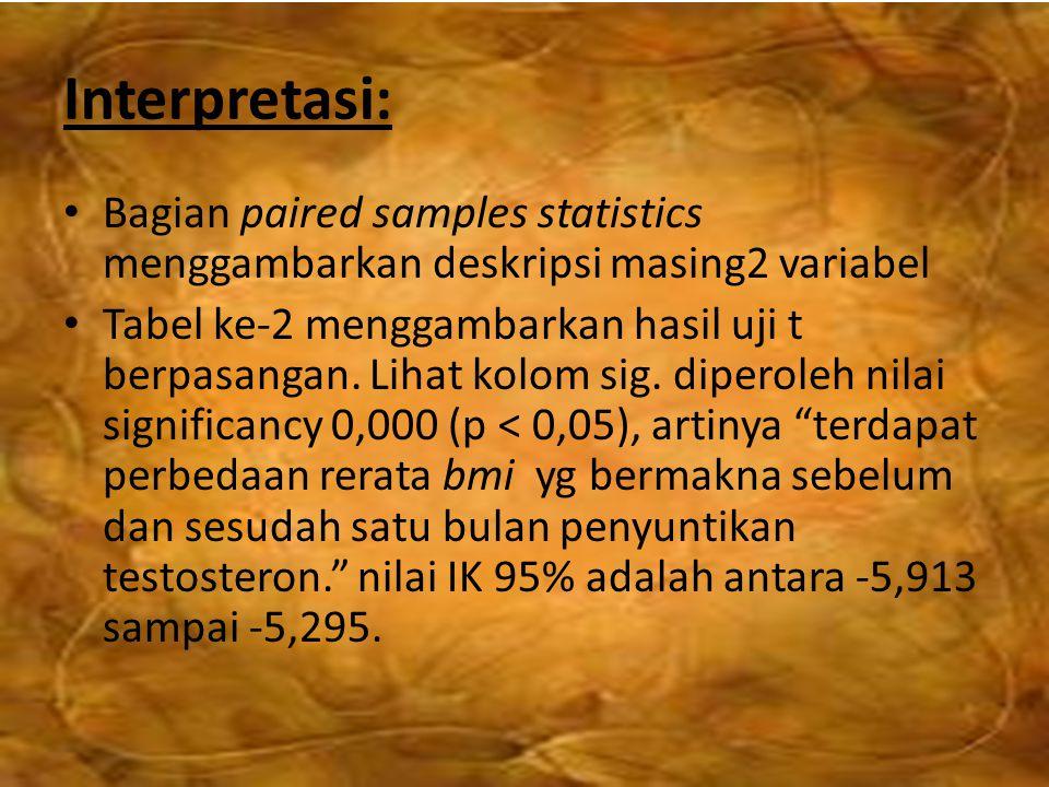 Interpretasi: Bagian paired samples statistics menggambarkan deskripsi masing2 variabel.