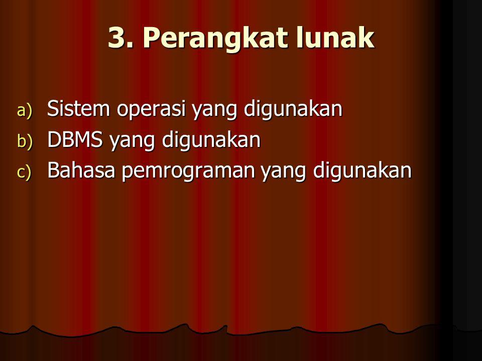 3. Perangkat lunak Sistem operasi yang digunakan DBMS yang digunakan