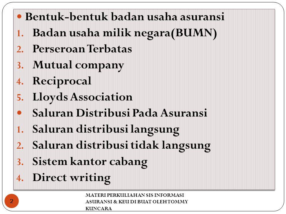 Bentuk-bentuk badan usaha asuransi Badan usaha milik negara(BUMN)