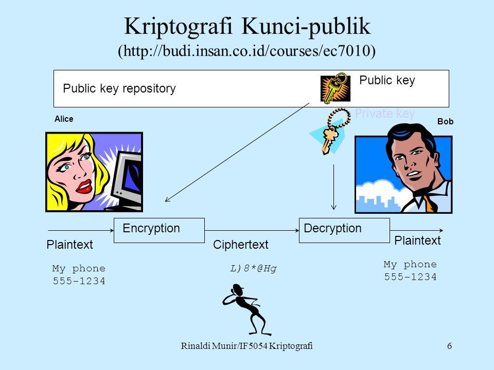 Kriptografi Kunci-publik (http://budi.insan.co.id/courses/ec7010)