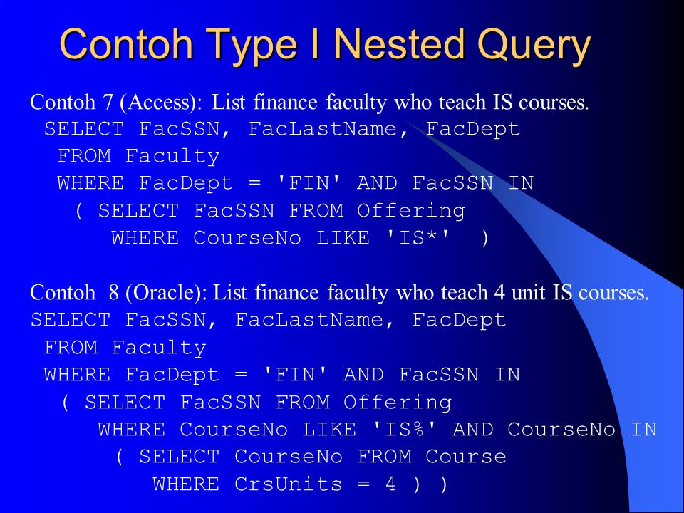 Contoh Type I Nested Query