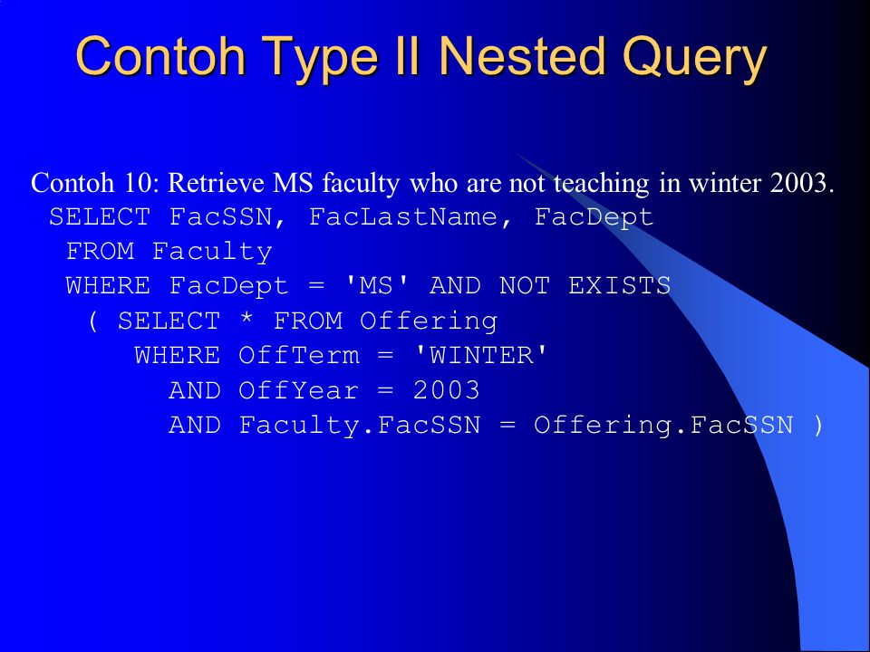 Contoh Type II Nested Query