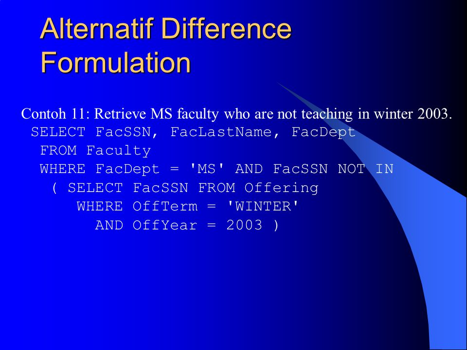 Alternatif Difference Formulation