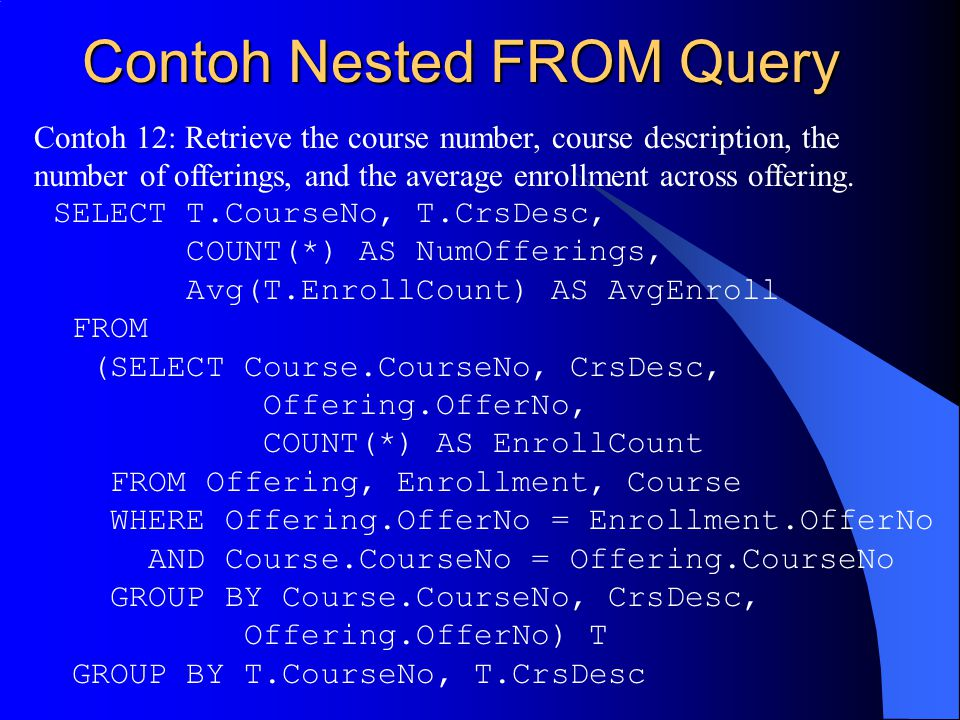 Contoh Nested FROM Query