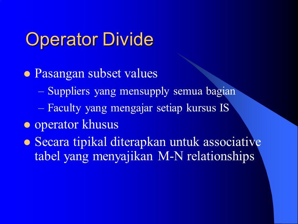 Operator Divide Pasangan subset values operator khusus