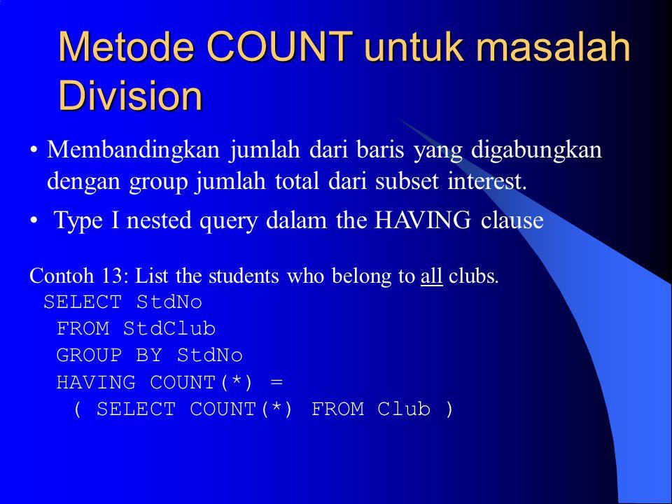 Metode COUNT untuk masalah Division