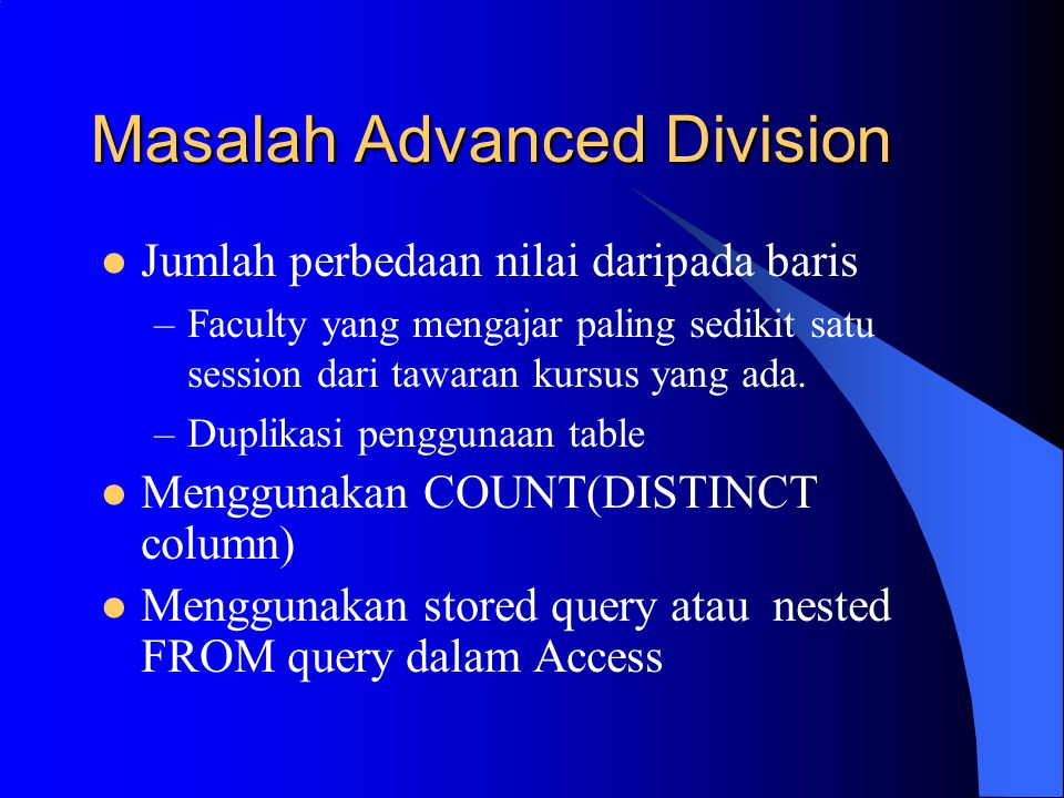 Masalah Advanced Division
