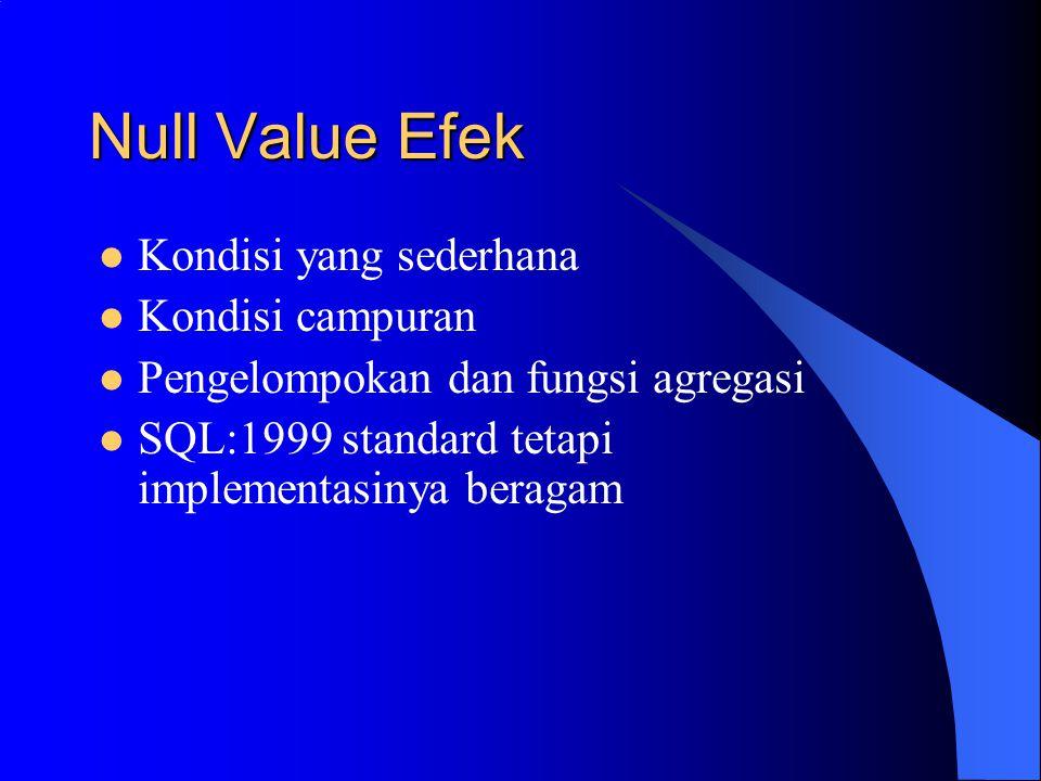 Null Value Efek Kondisi yang sederhana Kondisi campuran